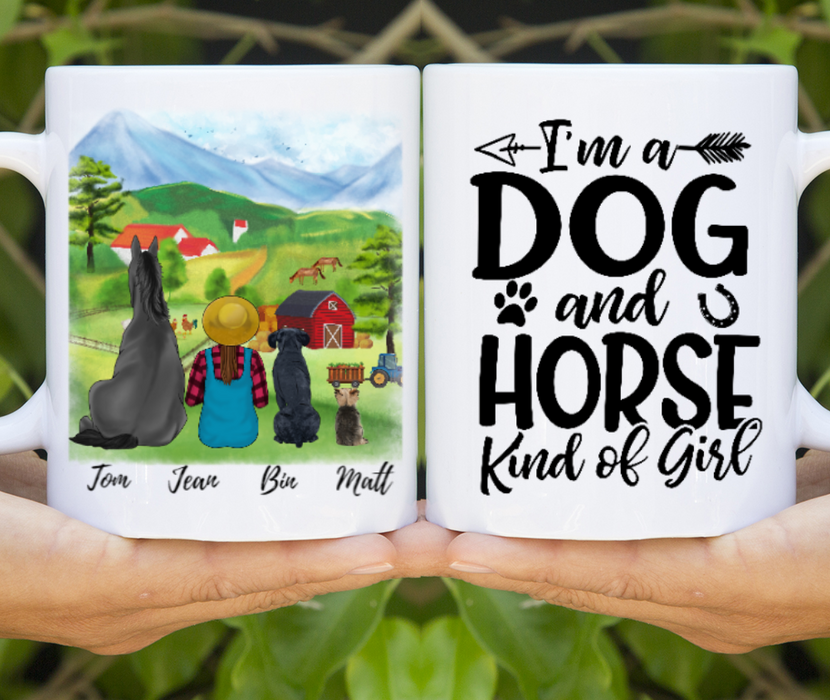 Custom Farm Girl With Horse And Dogs Personalized Mug Gift For Farmers