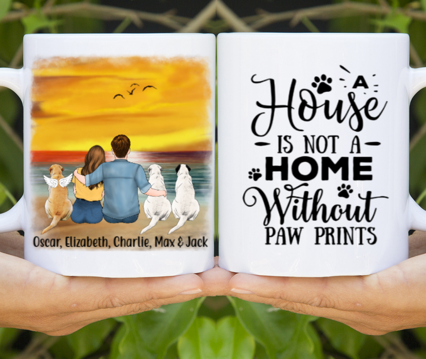 Personalized Mug, Couple and Dogs Gift For Dog Lovers