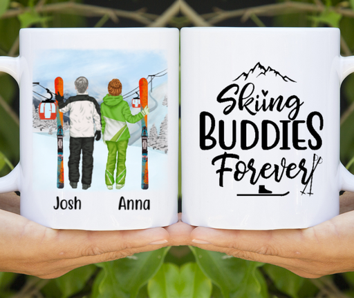 Personalized Mug, Skiing Partners Standing Custom Gifts for Ski Lovers