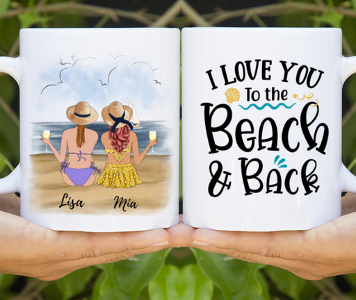 Custom Sisters On The Beach Personalized Mug gift for Beach Girls
