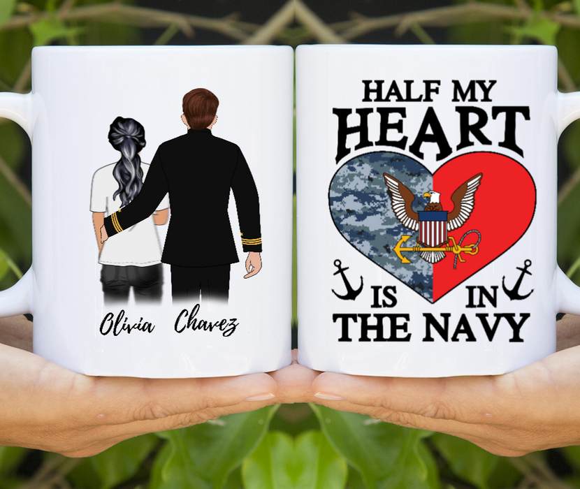 Half My Heart Is In The Navy Customize mug
