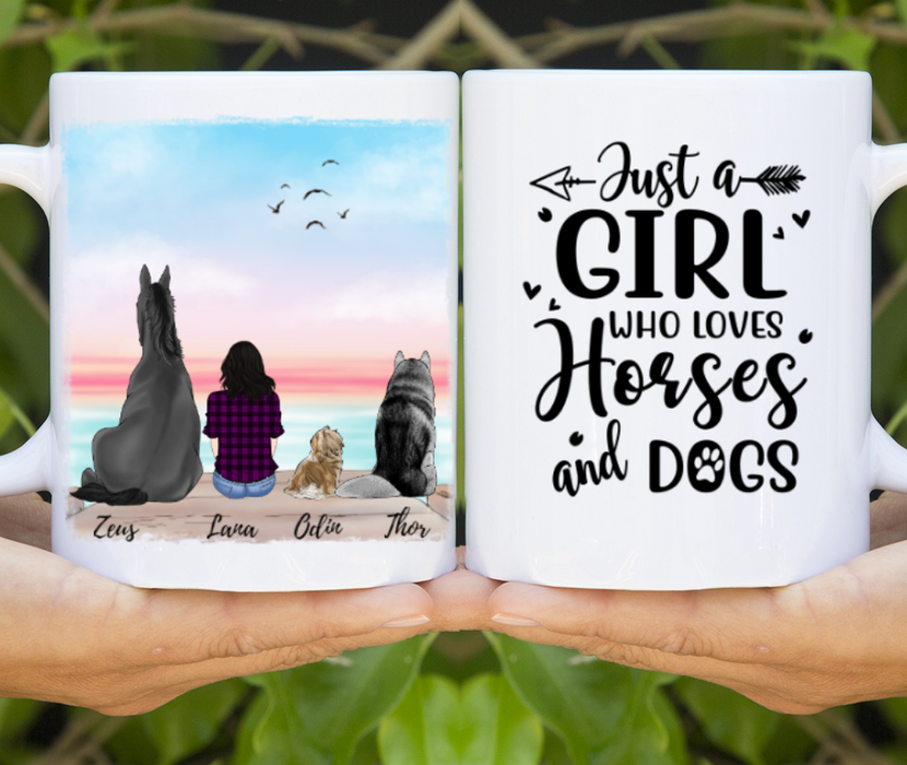 Custom Girl with Horse and Dogs Mug Personalized gift for Dogs & Horse Lovers