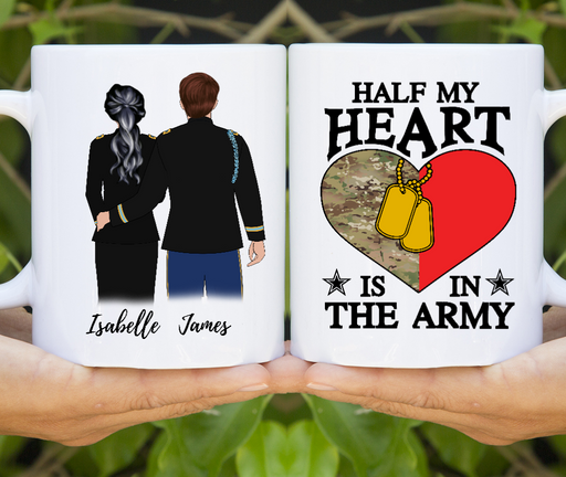 Custom Military Couple Coffee Mug - Personalized Soldier & Officer Gifts