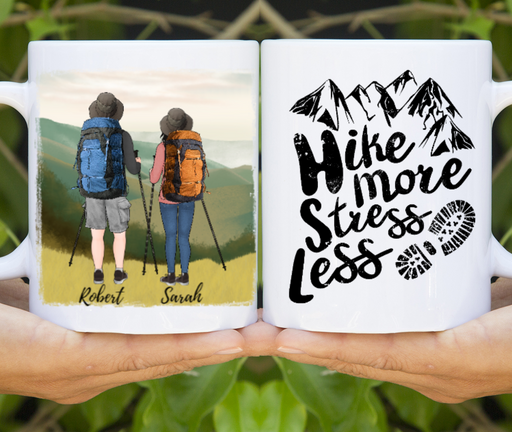 Custom Hiking Couple Mug Personalized Gift For Hiking Camping Lovers