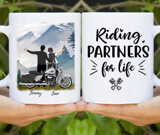 Custom Riding Partners For Life Couple Mug Personalized Gifts For Motorcycle Lovers
