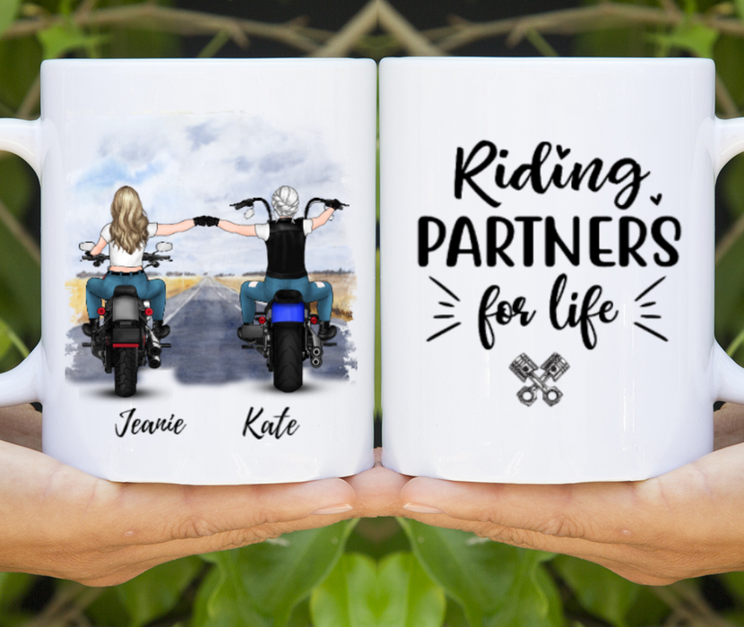 Personalized Mug, Custom Mug Two Biker Partners Gift For Motorbike Lovers
