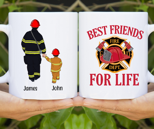 Personalized Mug, Firefighter Parent and Kid Custom Gift For Firefighter