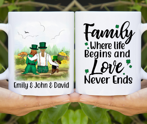 Personalized Mug - St Patrick Day Couple And Dogs Custom Gifts For Dog Lovers
