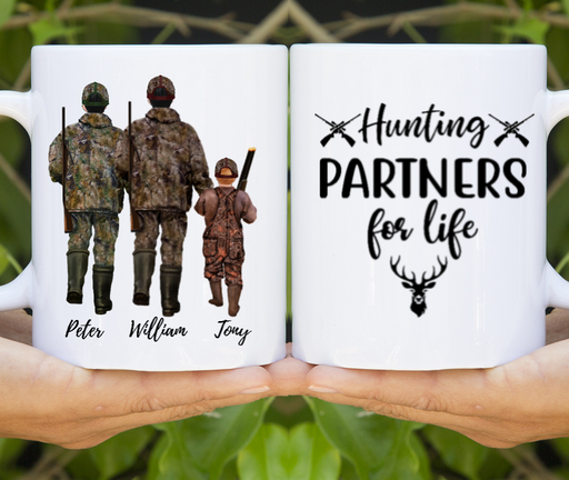 Two Adults & Kid Hunting Lover Customize mug