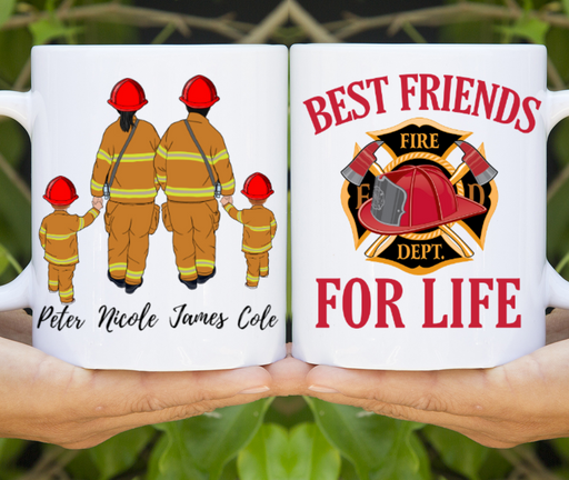 Custom Mug Family Firefighter 2 Adults and 2 Kids Best Friends For Lif