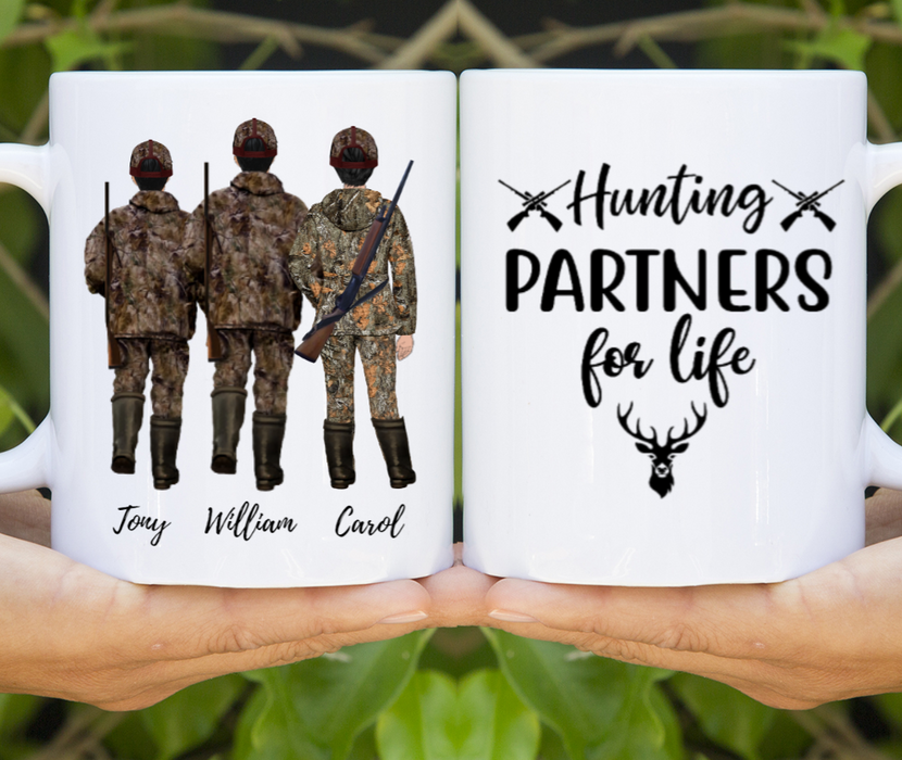 Hunting Partners Dad, Son & Daughter Customized mug