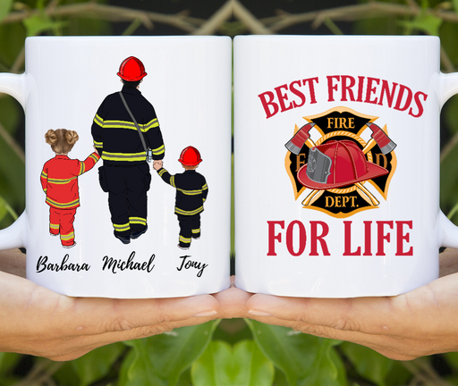 Custom Firefighter Best Friends For Life Personalized Mug