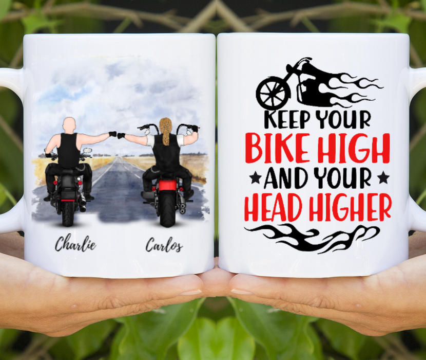 Custom Two Biker Backview Personalized Mug Gift For Motorbike Partners