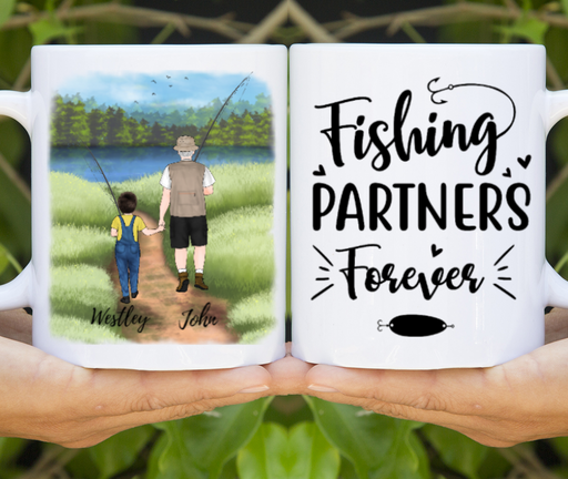 Custom Fishing Grandpa And Kid Personalized Mug Gifts For Fishing Grandfather