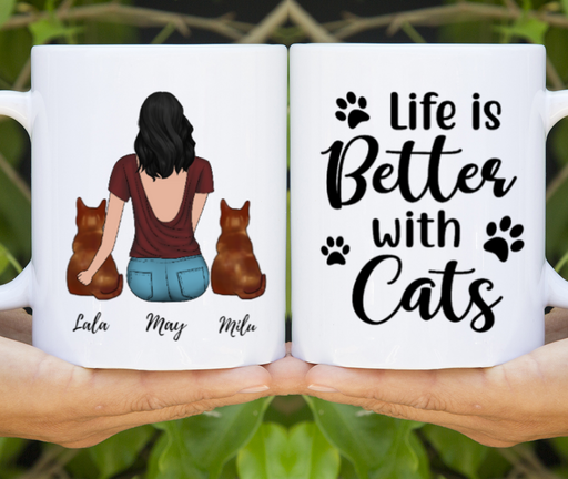 Girl And Cats Customize mug