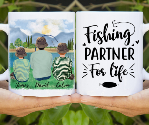 Dad & Two Kids Fishing Partners Customize mug