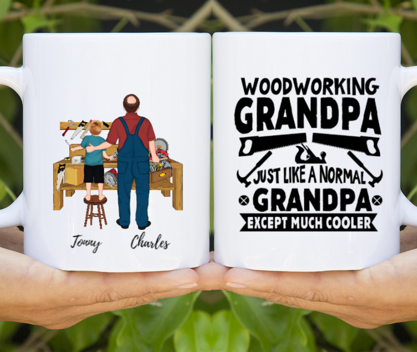 Custom Woodworker Grandpa And Kid Personalized Mug Gift For Carpenter Grandfather