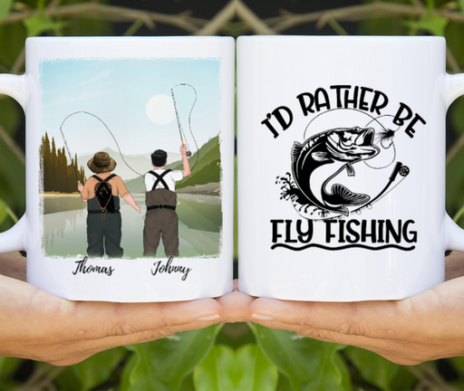 Custom Father And Son Fly Fishing Personalized Mug Gift For Fly Fishing Lovers