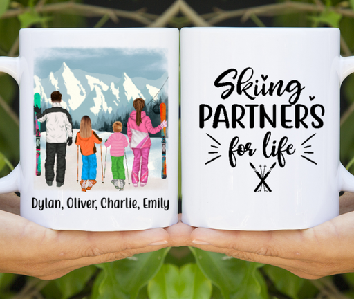 Personalized Mug, Skiing Family Custom Gifts for Skiing Lovers