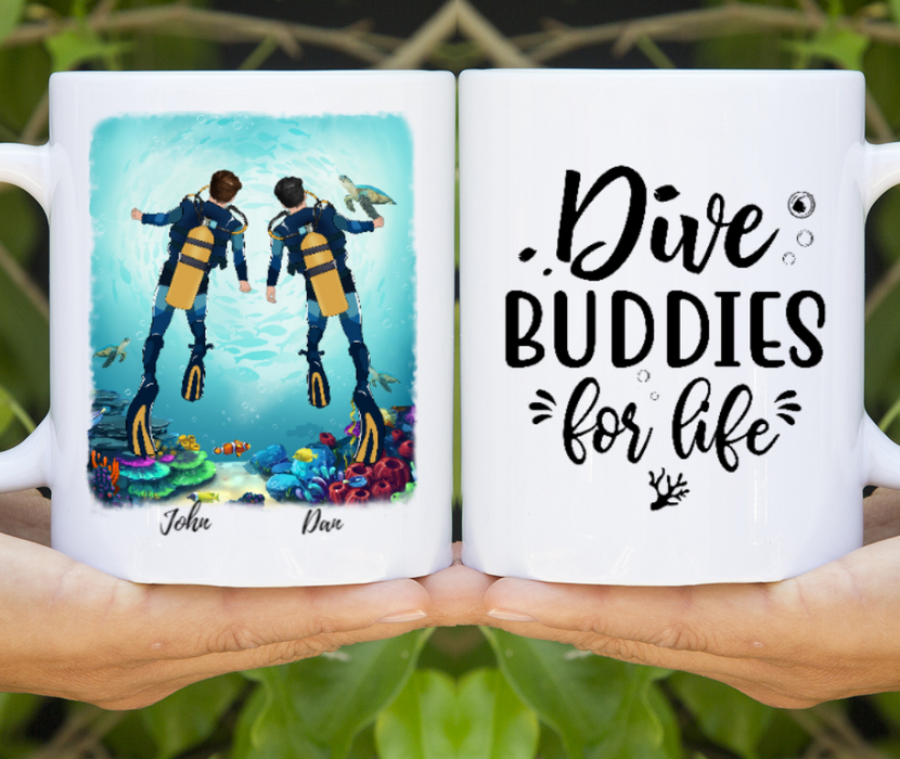 Custom Same Sex Scuba Diving Buddies Personalized Mug Gift For Diving Lovers
