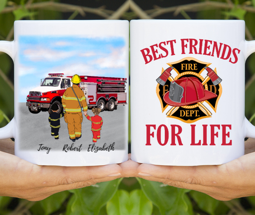 Custom Firefighter and Kids Mug Personalized Gift For Firefighter