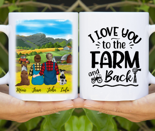 Custom Farming Couple And Dogs Personalized Mug Gifts For Farmers Loving Dogs
