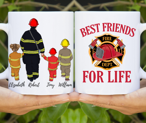 Firefighter Dad Three Kids Custom Mug