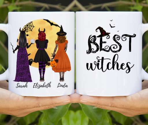 Custom Halloween Witches Mug Personalized Gift For Sisters Besties