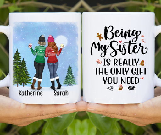 Personalized Mug, Winter Sisters Best Friends Custom Gifts for Christmas