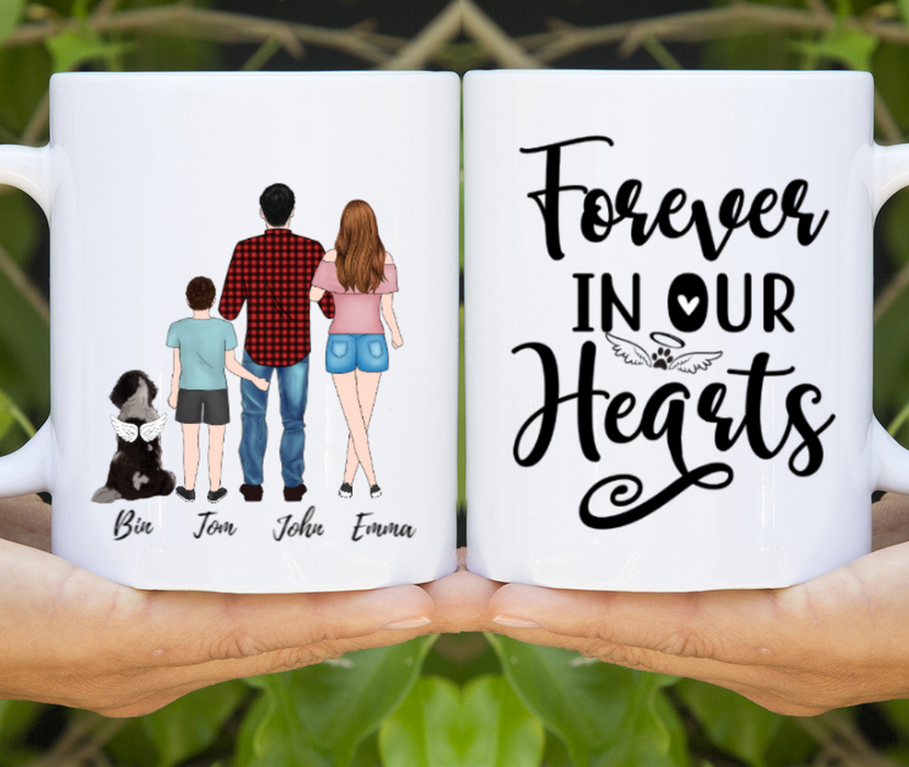 Personalized Mug - Family And A Memorial Dog Standing Gift For Dog Lovers