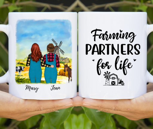 Custom Two Woman/Man Farming Partners For Life Personalized Mug Gifts For Farmers