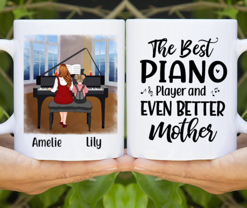 Personalized Mug, Mother and Kid Playing Piano Gift For Mother Daughter Piano Lovers