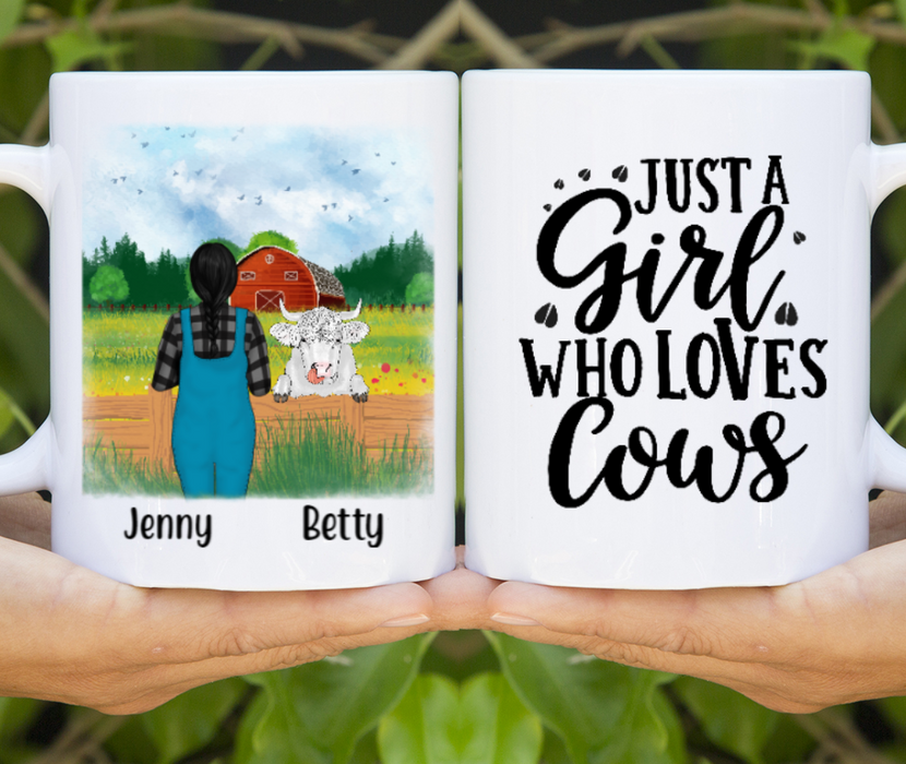 Personalized Mug, Woman And Peeking Cow Gifts For Cow Lovers