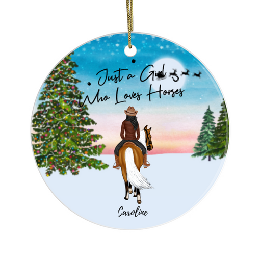 Personalized Circle Ornament - Horse Riding Girl Custom Gift for Christmas