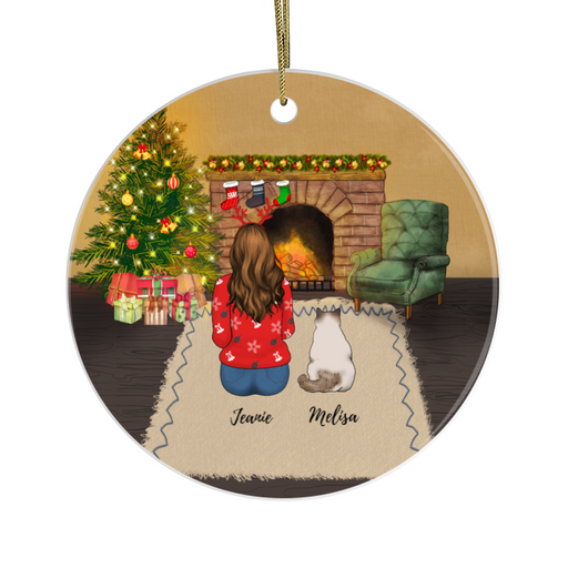 Personalized Ornament - Girl And Cats Gift For Christmas Cat Lovers