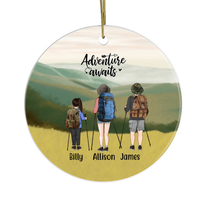 Personalized Ornament, Couple and Kid Hiking Friends Custom Gift for Christmas