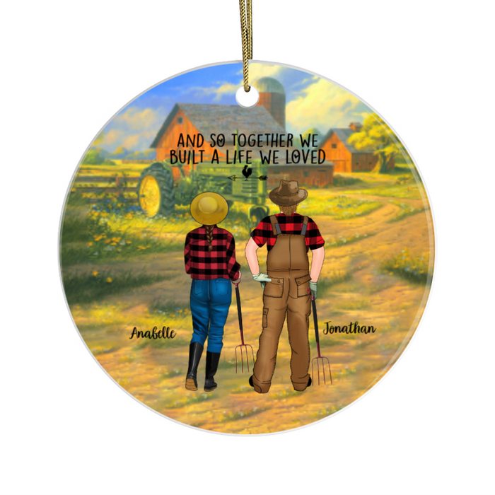 Personalized Ornament, Farmer Couple Standing Gift For Christmas Farming Lovers