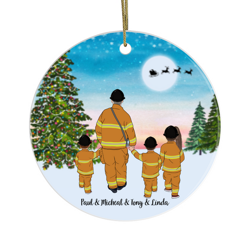 Personalized Ornament, Three Kids Firefighter Best Friends Gift For Christmas