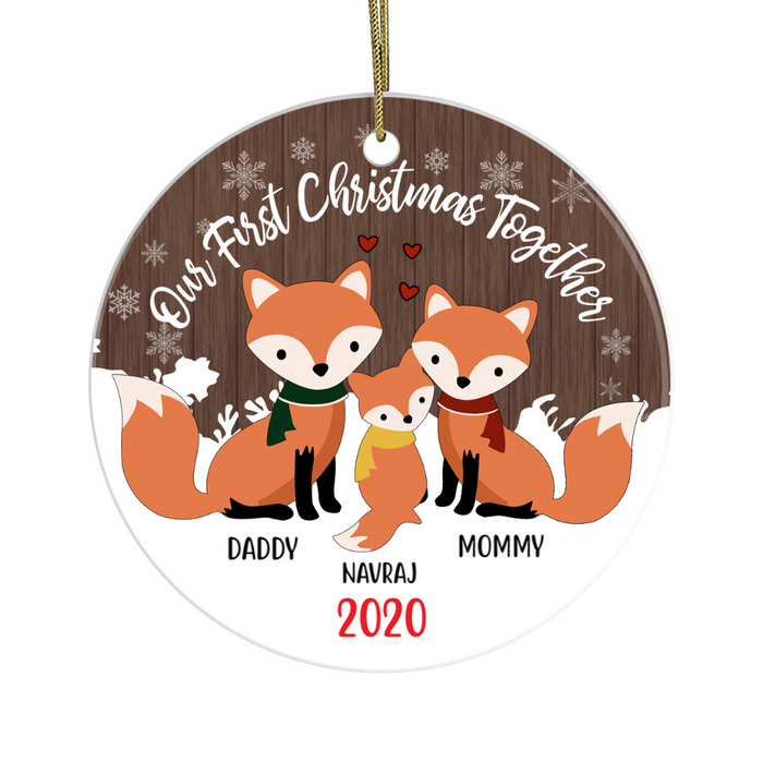 Personalized Ornament, Our First Christmas Together 2020 With Names Fox Family