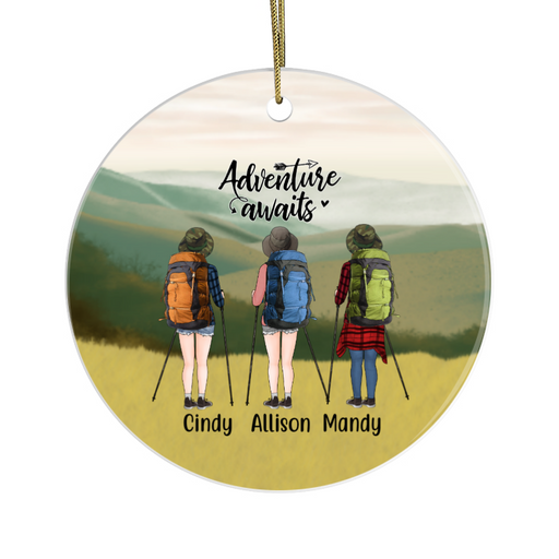 Personalized Ornament, Three Hiking Women Custom Gift for Christmas