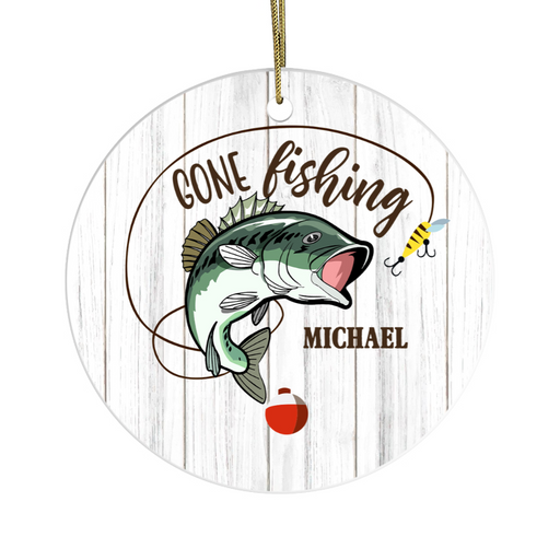 Personalized Ornament - Custom Name Gone Fishing Christmas Gift