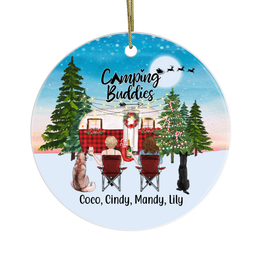 Personalized Ornament, Camping Buddies Women and Dogs Custom Gift for Christmas