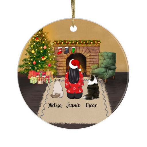 Personalized Ornament - Woman, Cat And Dog Custom Gift For Christmas