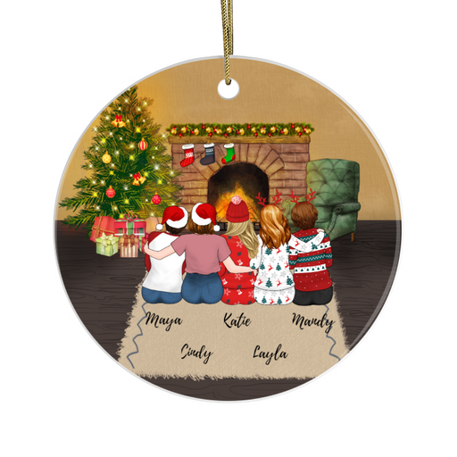 Personalized Circle Ornament - Christmas Girls Custom Gift for Sisters