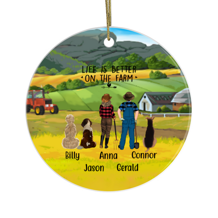 Personalized Ornament - Farming Couple and Three Dogs Custom Gift for Christmas