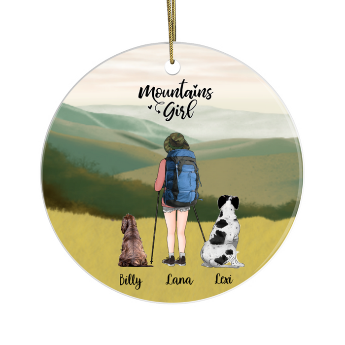 Personalized Circle Ornament - Hiking Girl with Dogs Custom Gift for Christmas