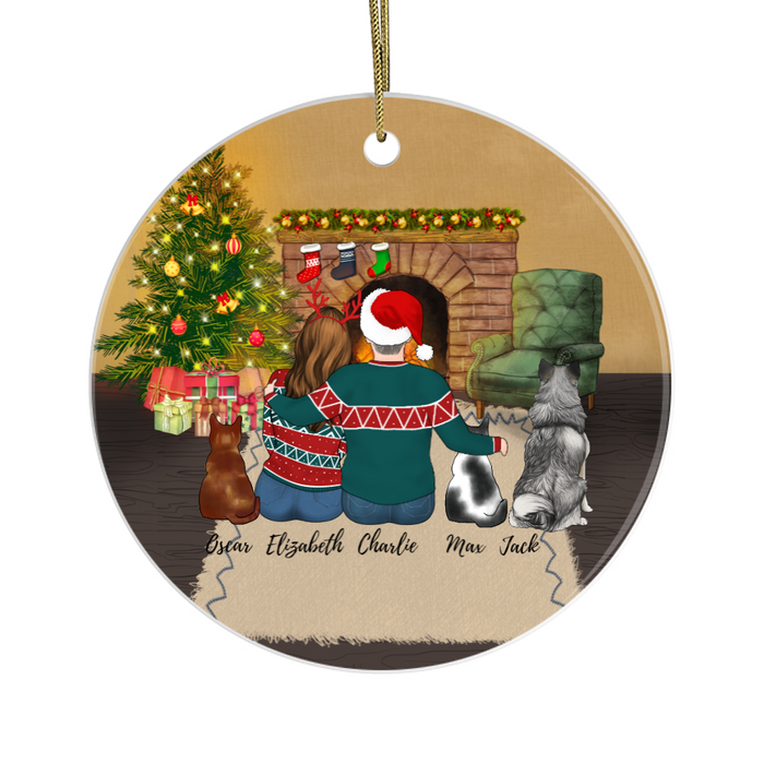 Personalized Ornament, Couple With Two Cats And Dog Custom Gift For Christmas