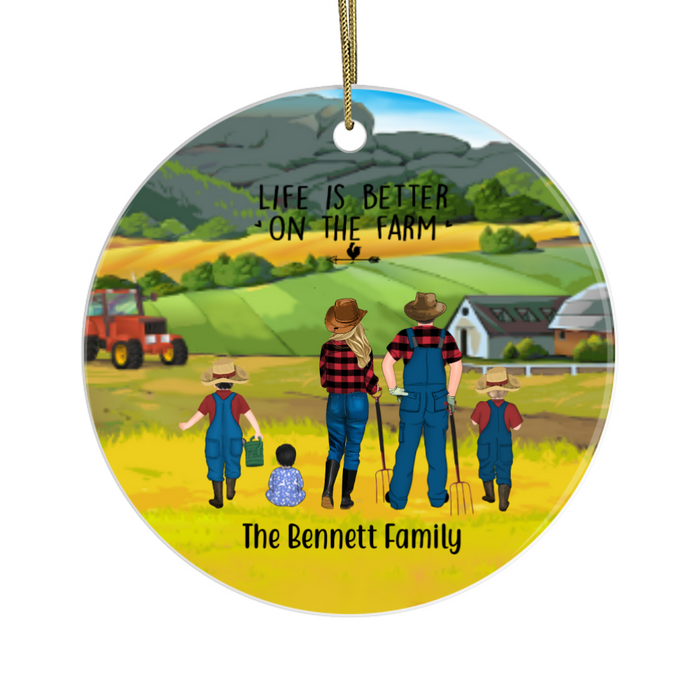 Personalized Ornament, Farming Parents, Two Kids and A Baby Custom Gift for Christmas