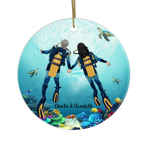 Personalized Circle Ornament - Scuba Diving Partners Custom Gift For Christmas