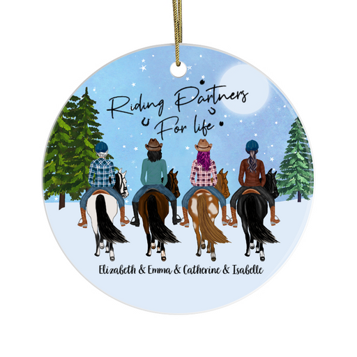 Personalized Ornament, Four Girls Horse Riding Partners Custom Gift For Christmas
